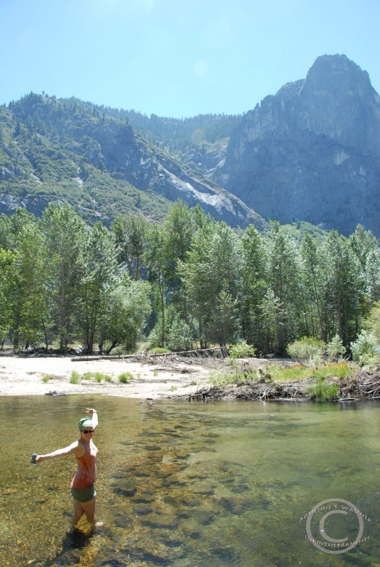 Wading in the Merced River - Photo by D. R. J.