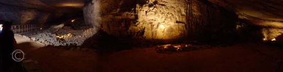 Remnants of mining hidden in shadows of Mammoth Cave.