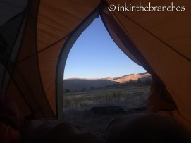 Sunrise from inside tent